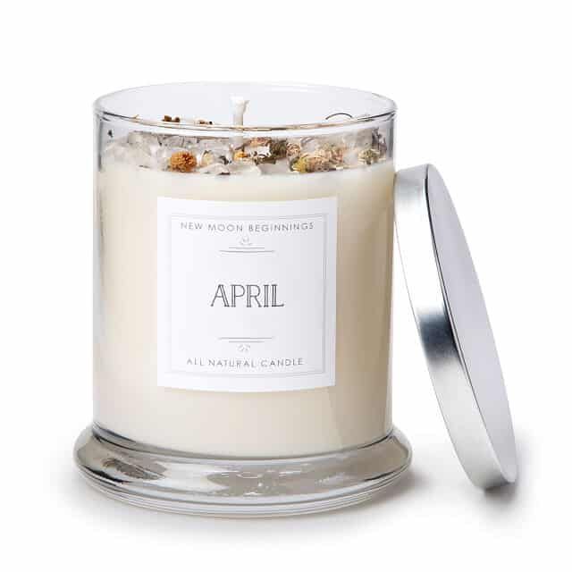 April Birth Month Gemstone & Daisy Flower Candle