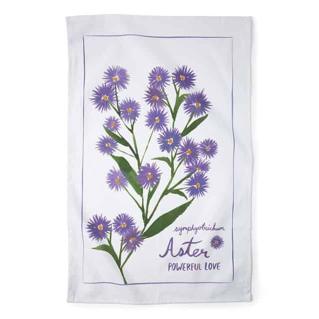Aster - Birth Month Flower Tea Towels