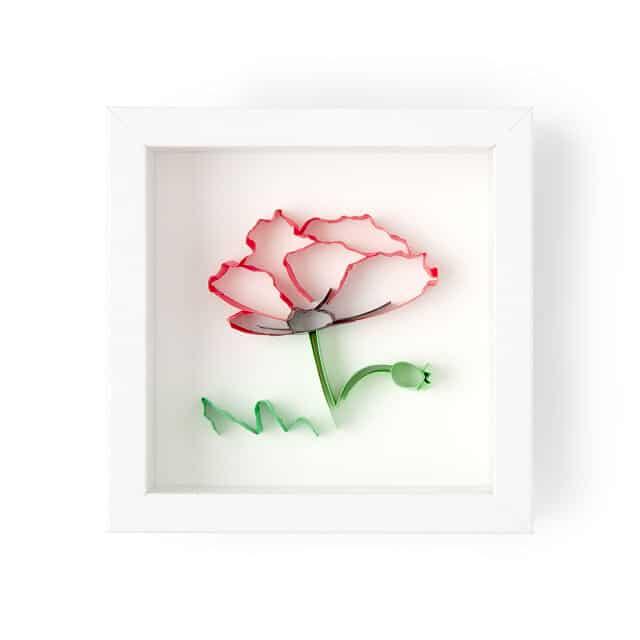 August Birth Month Flower Poppy 3D Art