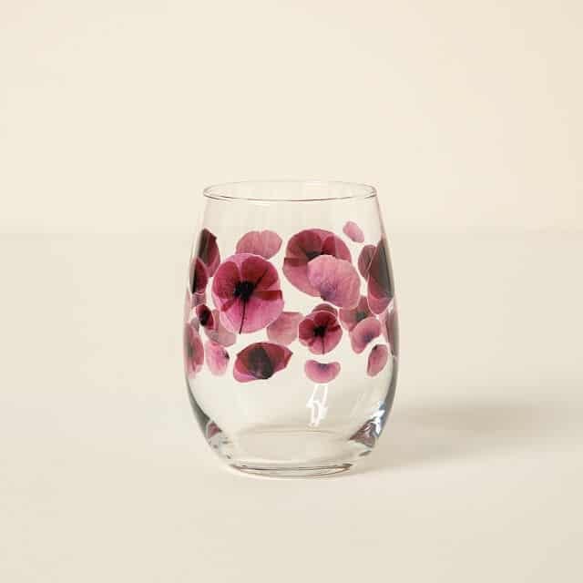 August Birth Month Flower Poppy Glass