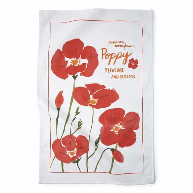 August Birth Month Flower Poppy Tea Towels