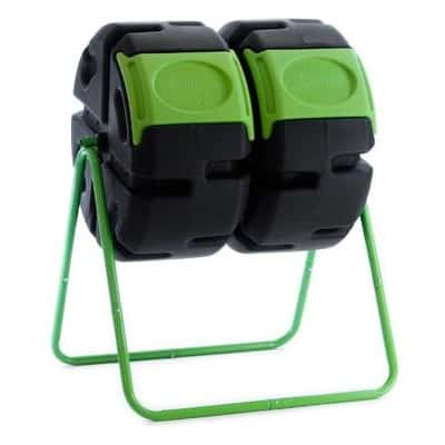FCMP Outdoor HOTFROG 37 Gallon Plastic Dual Body Rotating Tumbling Composter Bin