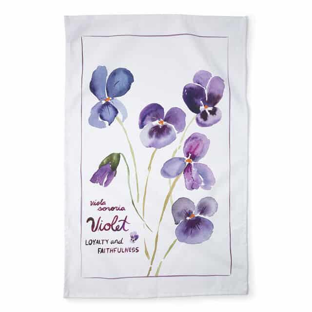 February Birth Month Flower Sweet Pea Tea Towels