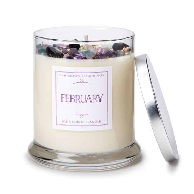 February Birth Month Gemstone & Violet Pansy Flower Candle