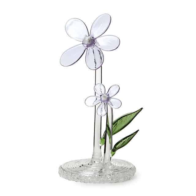 Glass Violet Pansy February Birth Month Flower