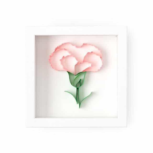 January Birth Month Flower Carnation 3D Art