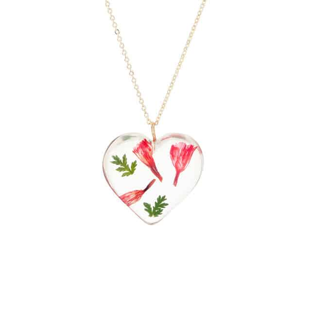 January Birth Month Flower Carnation Heart Necklace