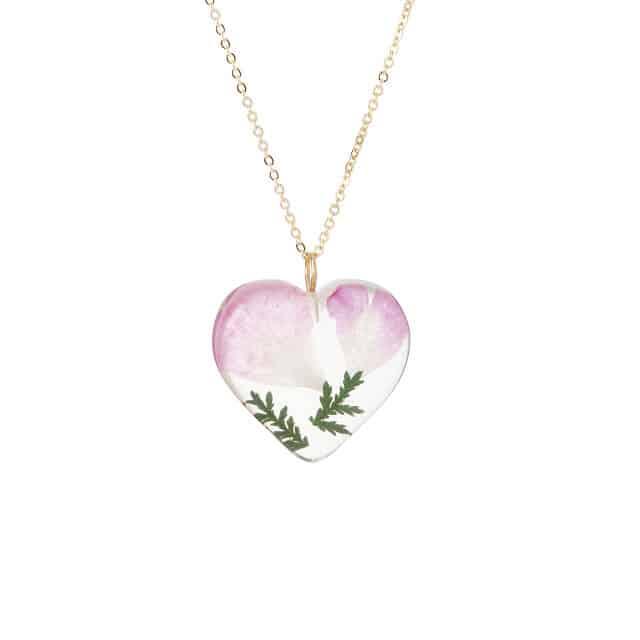 June Birth Month Flower Rose Heart Necklace