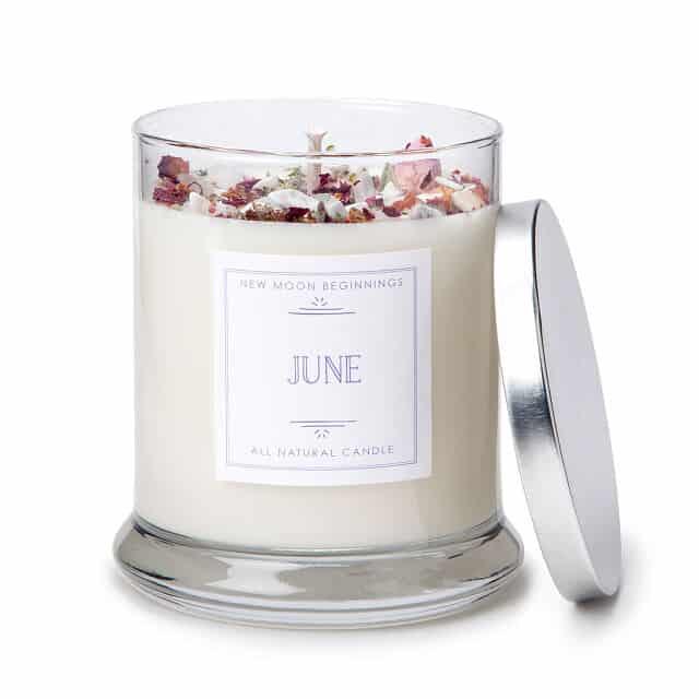 June Birth Month Gemstone & Rose Flower Candle