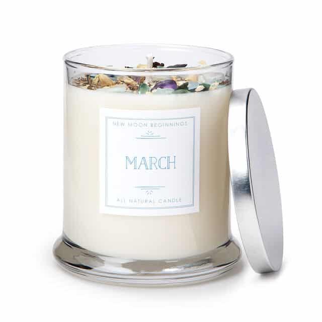 March Birth Month Gemstone & Daffodil Flower Candle