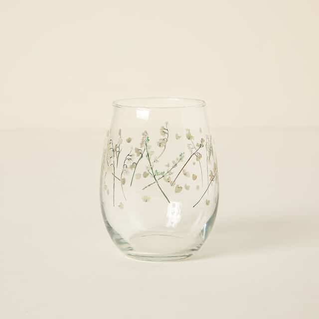 May Birth Month Flower Lily of the Valley Glass