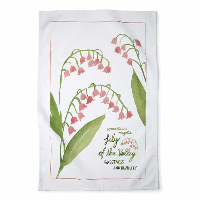 May Birth Month Flower Lily of the Valley Tea Towels