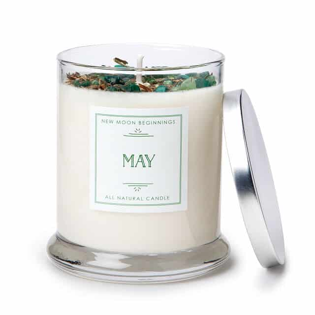 May Birth Month Gemstone & Lily of the Valley Flower Candle