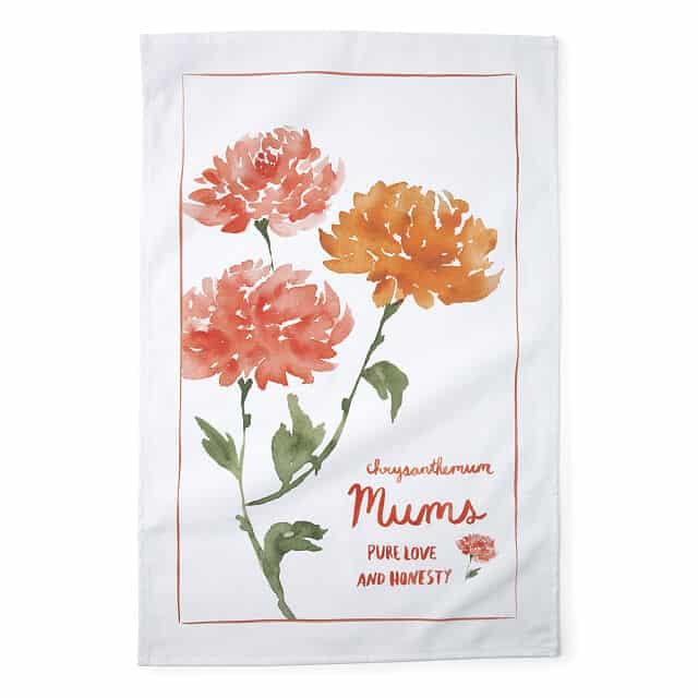 November Birth Month Flower Chrysanthemum Tea Towels