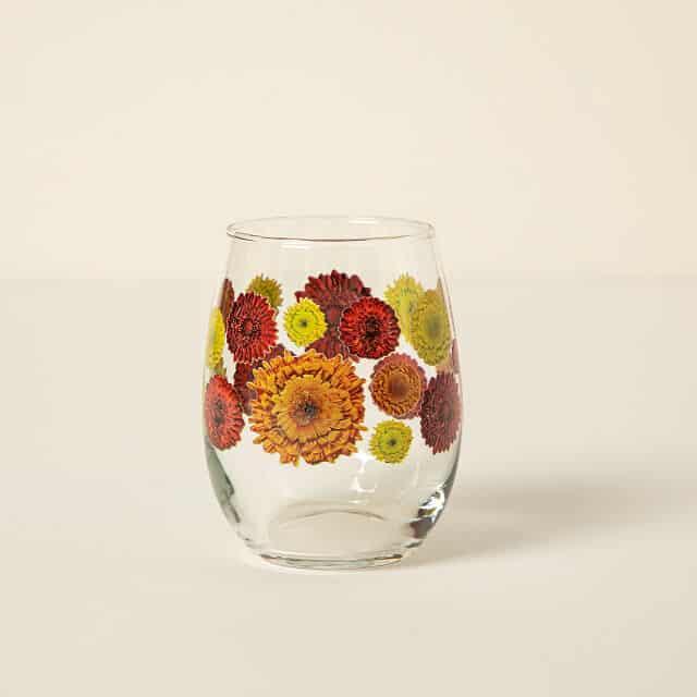 November Birth Month Flower Glass