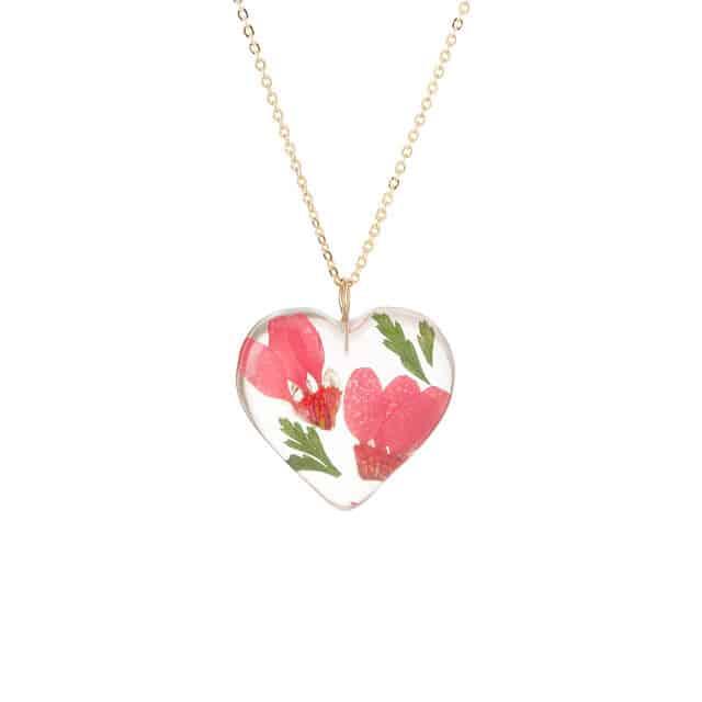 November Birth Month Flower Yellow Chrysanthemum Heart Necklace