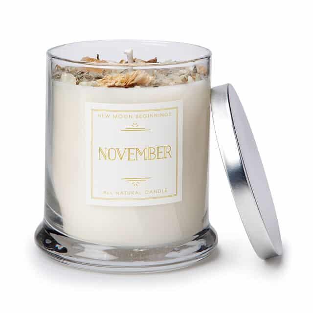 November Birth Month Gemstone & Chrysanthemum Flower Candle