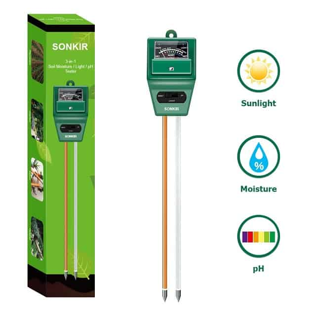 Sonkir Soil pH Meter, MS02 3-in-1 Soil Moisture-Light-pH Tester