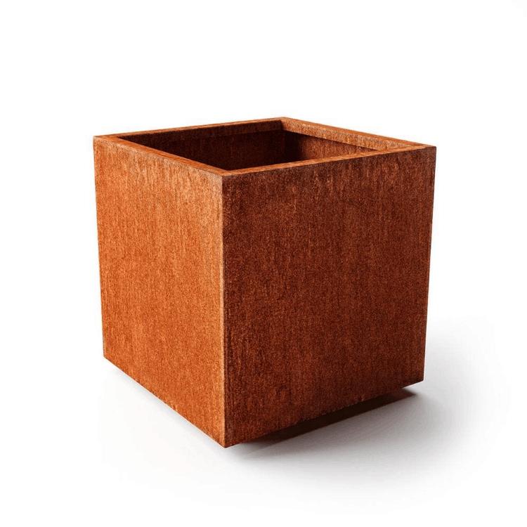 Veradek Rust Corten Cube Large Steel Metal Square Planter